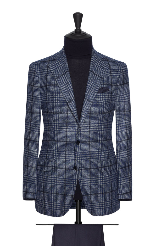 Ferla blue wool alpaca glencheck with dark blue windowpane