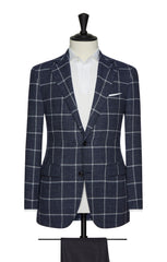 Angelico navy mouliné with white windowpane Inspiration