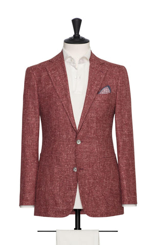 Loro Piana Blush Red Slubbed Wool Silk Linen Tweed Blend