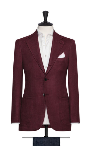 Loro Piana burgundy wool silk linen basketweave