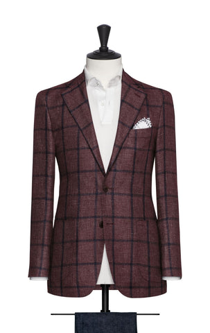 Ferla burgundy linen alpaca silk with blue windowpane