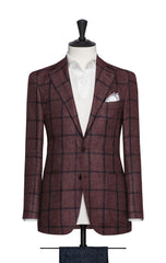Ferla burgundy linen alpaca silk with blue windowpane Inspiration