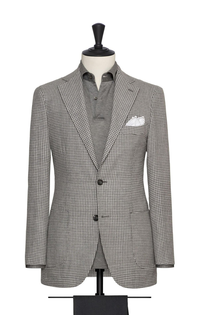 Pontoglio mid grey wool linen with white modern check