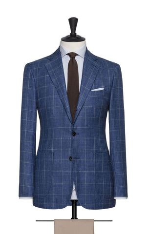 Loro Piana royal blue wool silk linen with windowpane