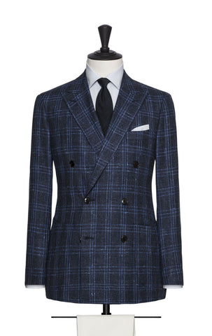 Loro Piana Dark Blue Wool Silk Linen Tweed with Light Blue Check