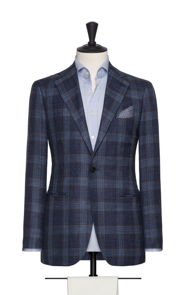 Loro Piana dark blue wool silk linen with rust check