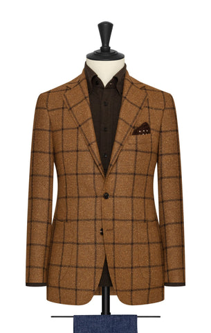 golden brown mélange wool alpaca silk with dark brown windowpane