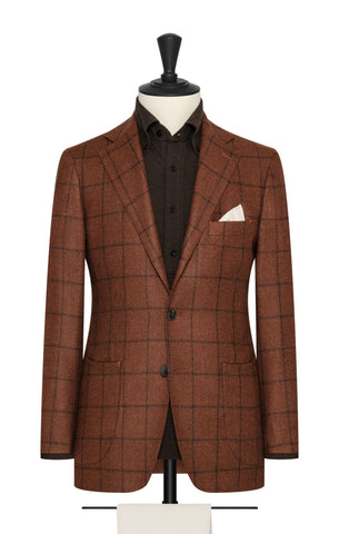 orange wool silk mélange with black windowpane