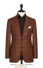 golden brown mélange wool alpaca silk with dark brown windowpane Inspiration