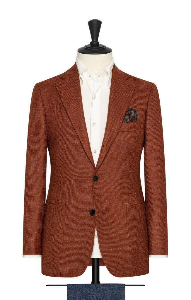 Loro Piana Fire Orange Brushed Wool Silk Twill