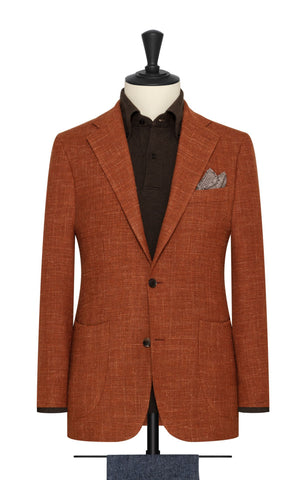 burnt orange wool linen blend mesh