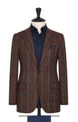 brown burgundy mélange wool alpaca silk twill with light blue windowpane Inspiration