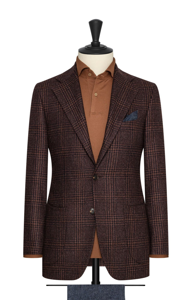 Loro Piana Dream Tweed Cinnamon Navy Brushed Wool with Technical Check