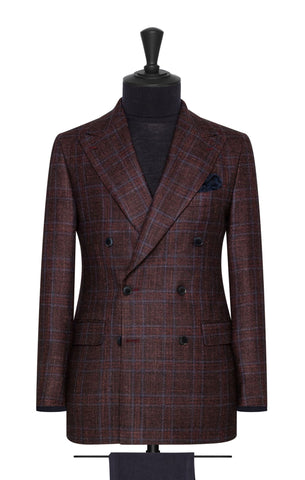 Loro Piana Silk Air Dark Burgundy Wool Silk Cashmere with Subtle Blue Check