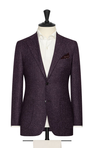 Barberis Canonico Dark Purple Wool Silk Herringbone with Speckled Effect