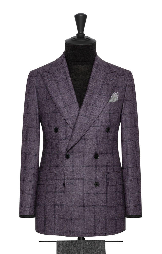Loro Piana Silk Air Purple Wool Silk Cashmere Faux Uni with Dark Purple Check