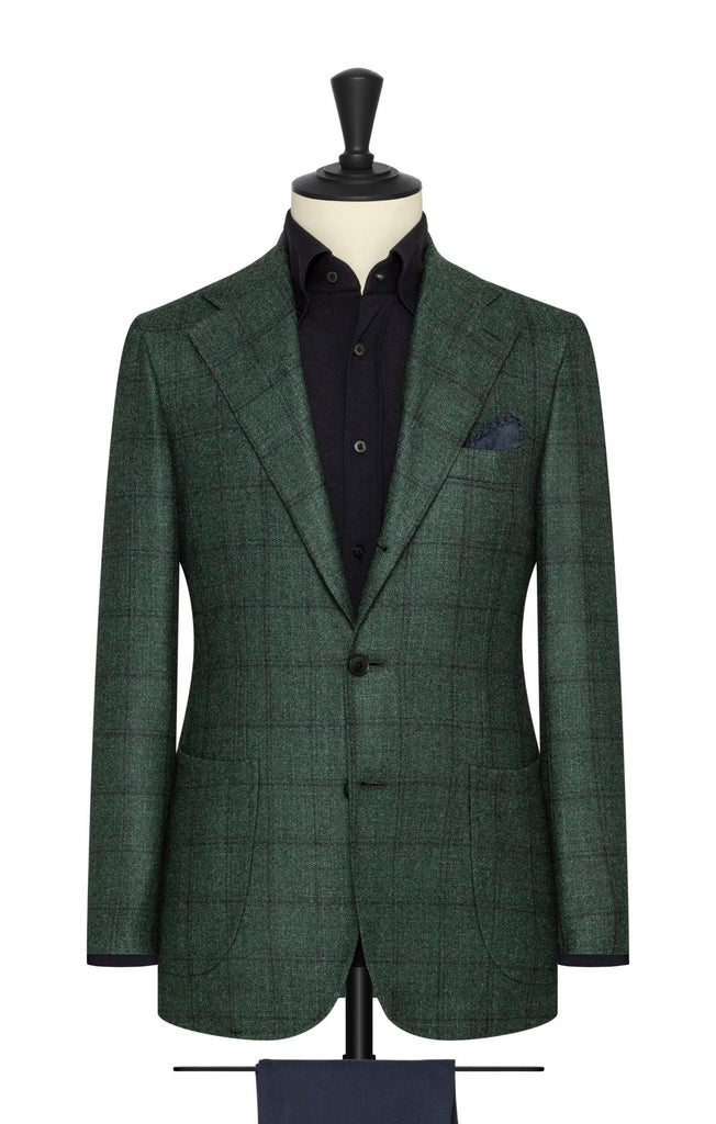 pine green wool silk cashmere with subtle navy check