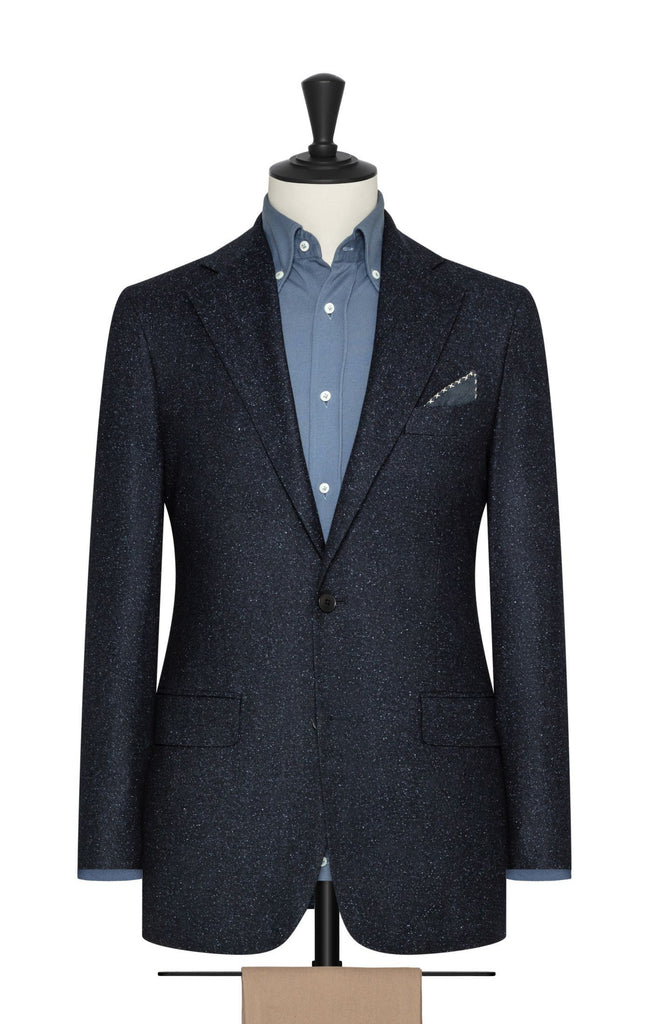 midnight blue wool silk herringbone with speckled effect