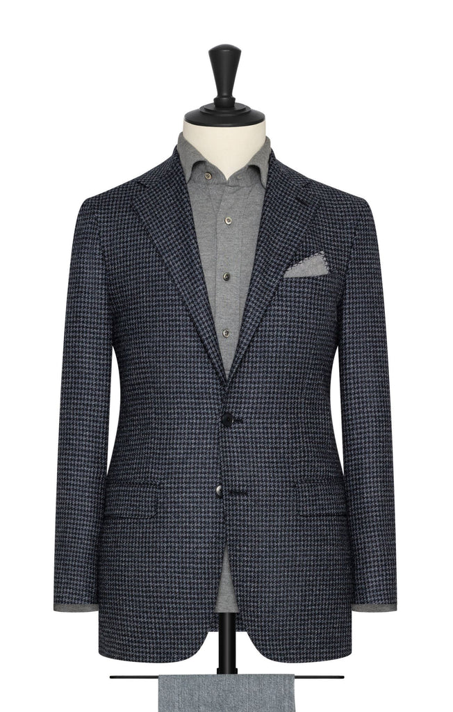midnight blue white wool silk mélange houndstooth