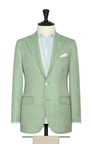 Loro Piana spring green white wool, silk & linen herringbone