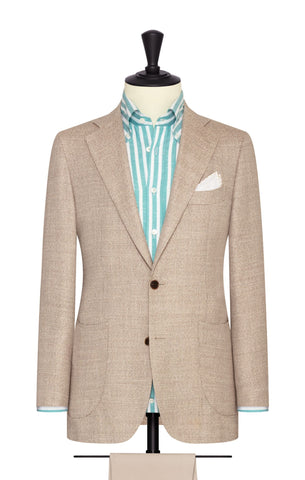 Loro Piana beige mélange wool silk linen textured basketweave