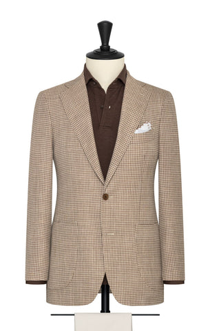 Drago tan sand wool silk linen houndstooth