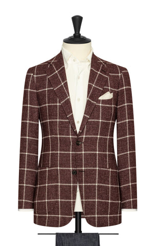 Angelico Burgundy Mouliné with White Windowpane