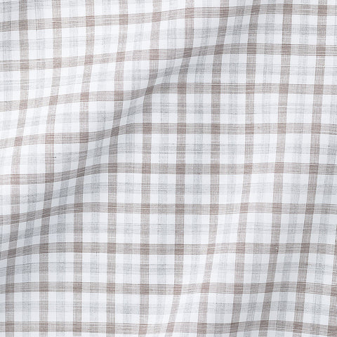 Light Brown Light Grey Checks Poplin