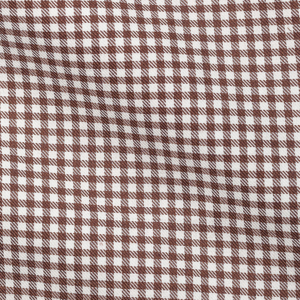 White Brown Small Gingham Soft Flannel Twill