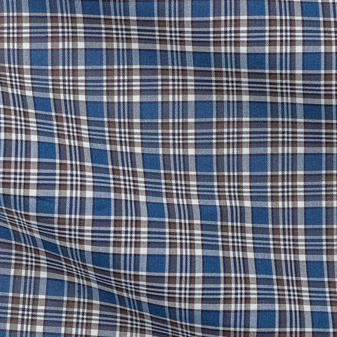 Blue Brown Tartan Plain Weave