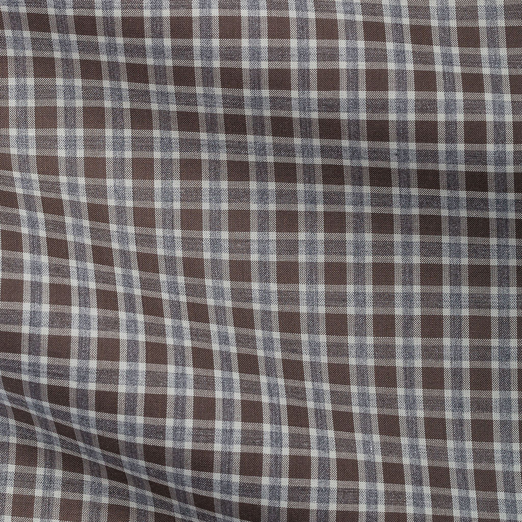 Brown Grey Tartan Plain Weave
