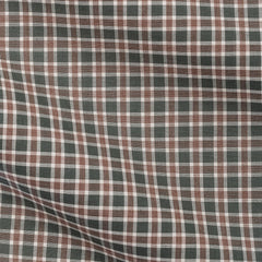 Green Mid Brown Tartan Plain Weave