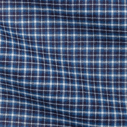 Blue White Tartan Soft Flannel Herringbone