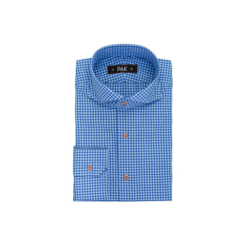 Light Blue Mid Blue Checks Poplin