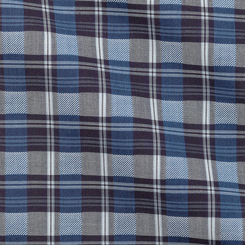 Blue Grey Tartan Windowpane Off White