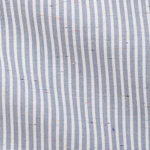 White Slate Blue Striped Oxford Donegal Slubs