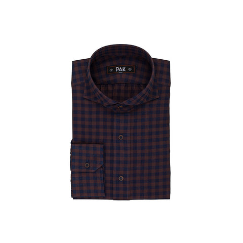 Dark Blue Brown Checks Twill