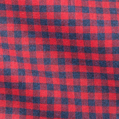 Red Dark Blue Checks Herringbone Soft Flannel