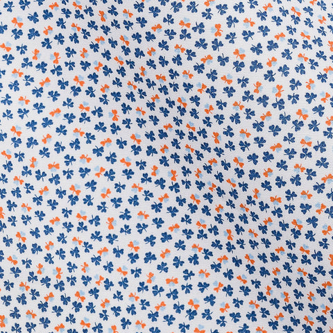 Blue Orange Clover Print Poplin