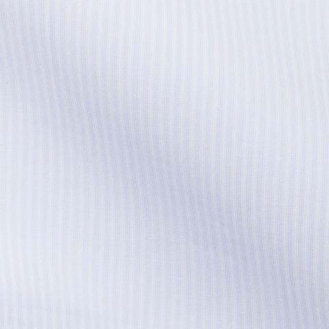 White Poplin Light Blue Stripes