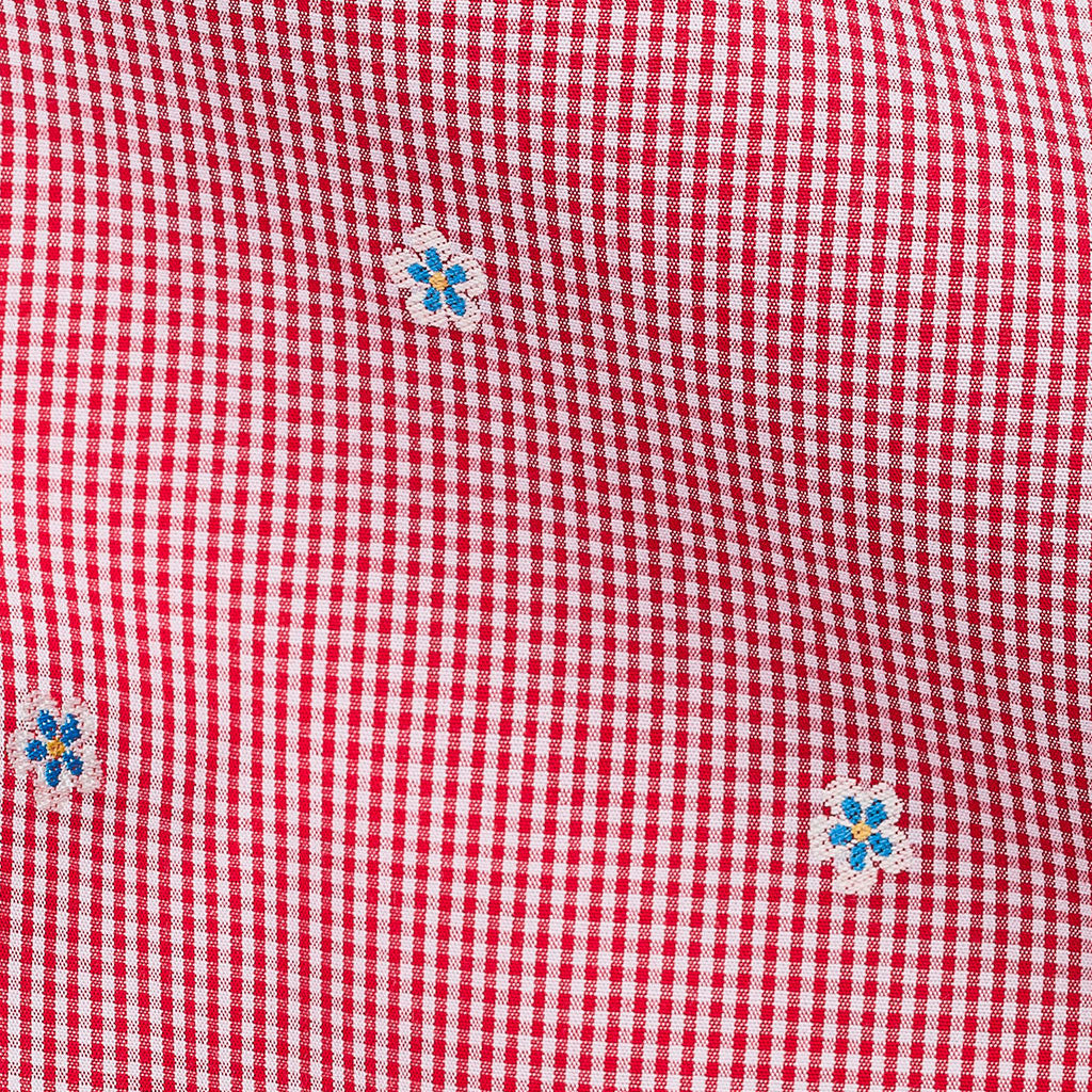 Flower Embroidery Red Ultrafine Checks Poplin
