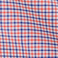 Orange Blue Checks Chambray