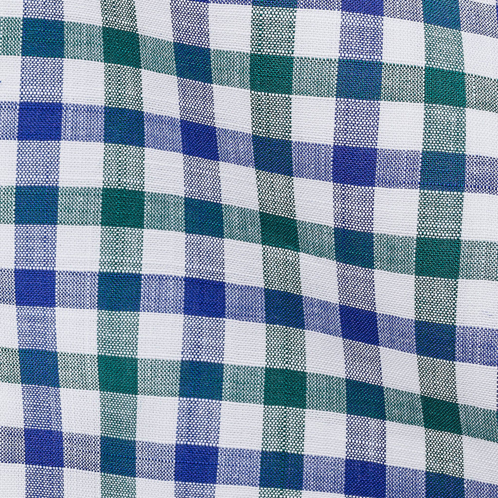 Blue Green Checks Chambray