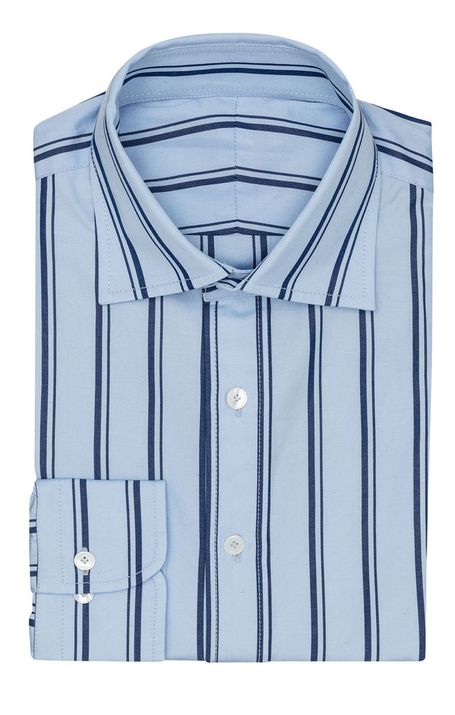 Monti light blue cotton poplin with dark blue stripes