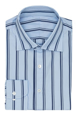 Monti light blue cotton poplin with dark blue stripes Inspiration