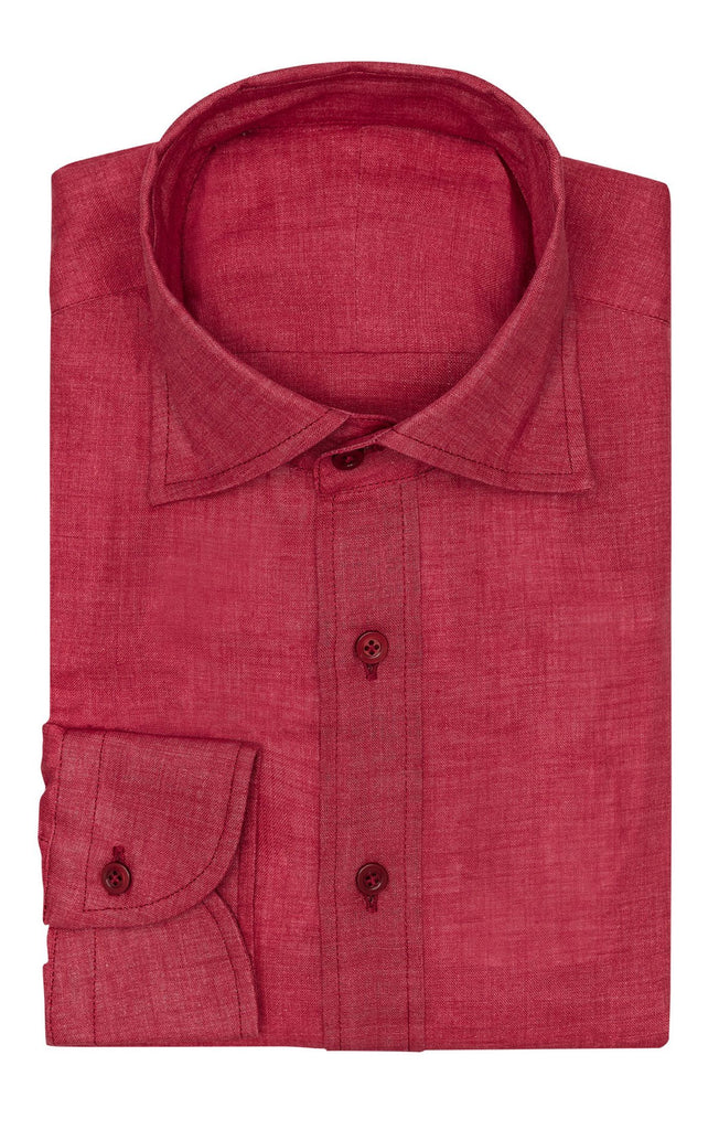 Albini red linen open weave