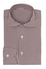 white stretch cotton blend with brown stripes Inspiration