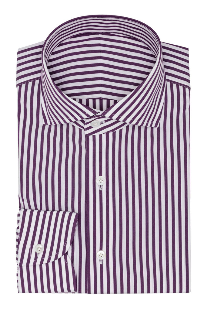 white stretch cotton blend with purple stripes
