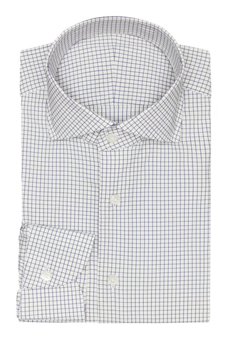 white stretch cotton blend with blue check