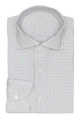 white stretch cotton blend with blue check Inspiration